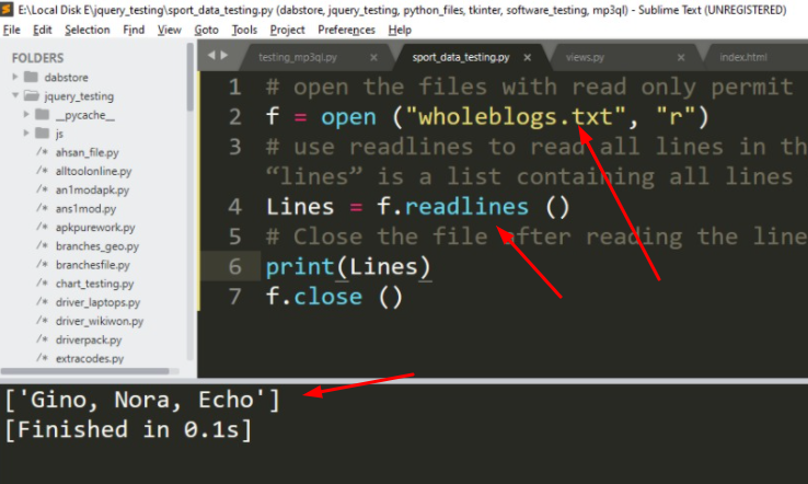 Read Text File Line By Line by Using Python