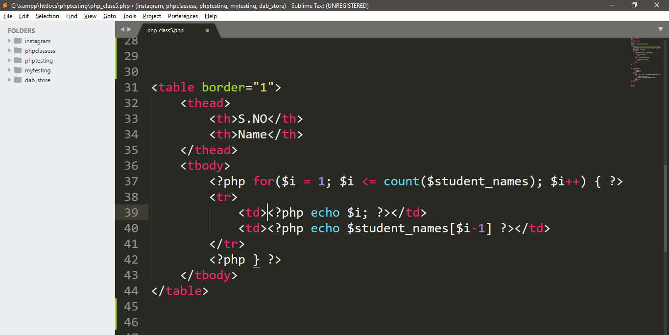 Run While Loop With Table In PHP